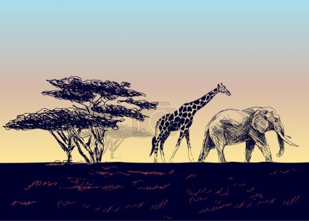 Illustration for Vector background of the African landscape - Royalty Free Image