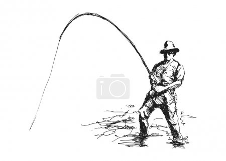 Hand drawing fisherman...