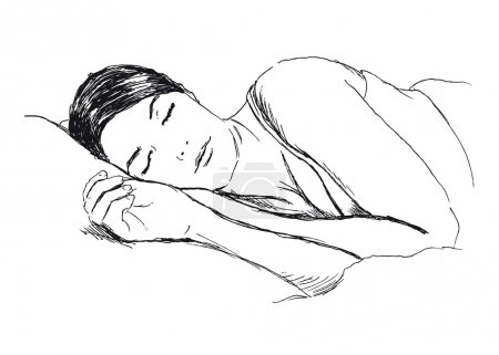 Illustration for Hand sketch of a sleeping woman - Royalty Free Image