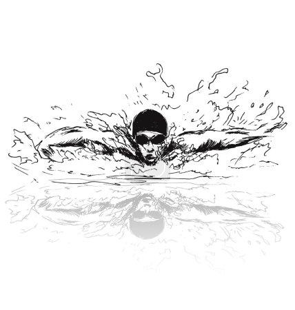 Croquis à la main nageur