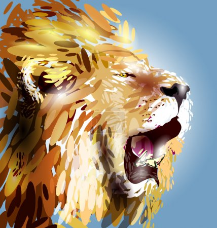 Illustration for Abstract lion's head. Vector illustration - Royalty Free Image