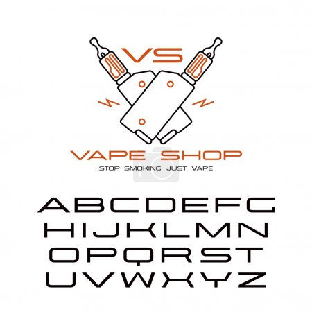 Illustration for Sanserif wide font in thin line style and vape shop emblem. Color print  on white background - Royalty Free Image