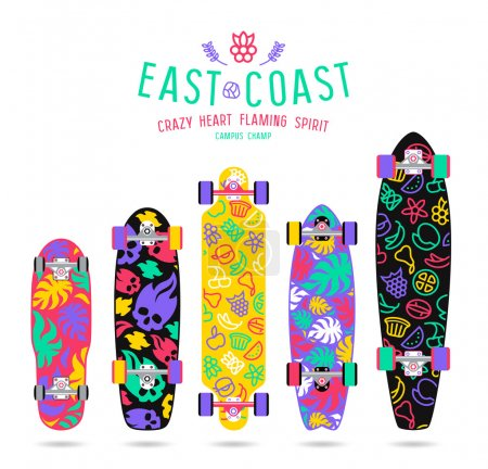 Fruit  prints in flat style for longboard