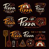 Set of pizzeria labels badges and design elements
