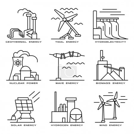 Illustration for Stock vector set of web icons on electricity generation plants and sources. Illustration in thin line style - Royalty Free Image