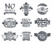 Longboard club emblems Graphic design for t-shirt Dark print on white background