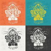 Longboard retro emblem Graphic design for t-shirt Color options hand graphics