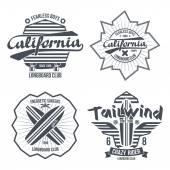 Longboard surfing retro emblem