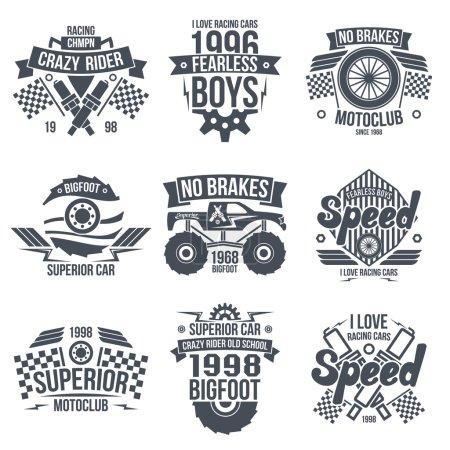 Emblems retro vintage race and super cars