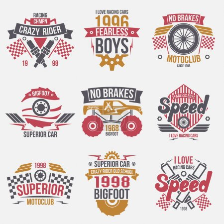 Emblems retro vintage race and super cars