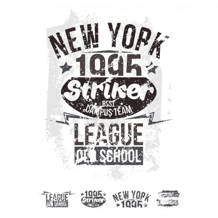 College New York team rugby retro emblem and design elements