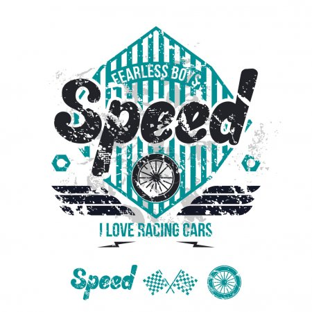 Emblem of the racing car in retro style