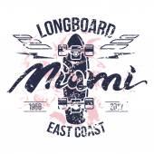 Longboard emblem print design for t-shirt in retro style