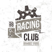 Emblem racing club in retro style Graphic design for t-shirt Color print on white background