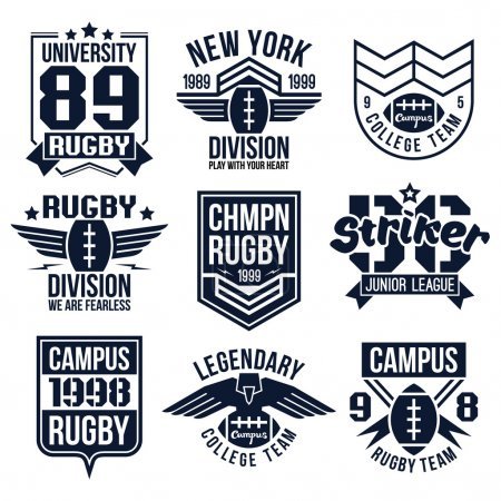 Illustration for College rugby team emblems in retro vintage style. Graphic design for t-shirt. Black print on a white background - Royalty Free Image