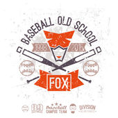 Emblem baseball old school  Graphic design for t-shirt  Color  print on a  white background