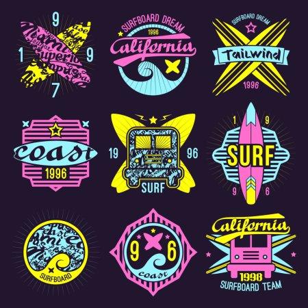 Surfing emblem in retro style