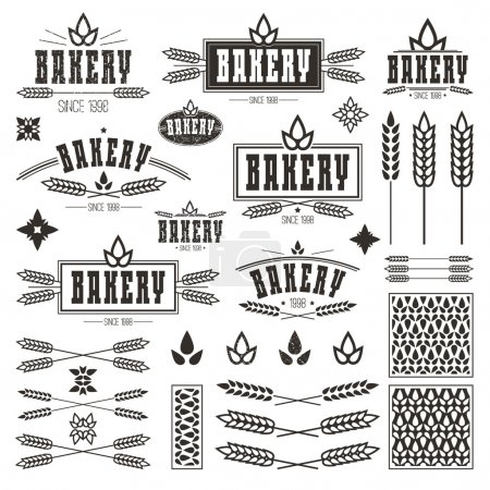 Design elements and logo for bakery. Dark print on...