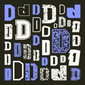 Set versions of letters D in a variety styles Color print on black background