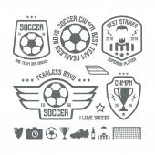 Set of soccer emblems and icons Black print on a white background