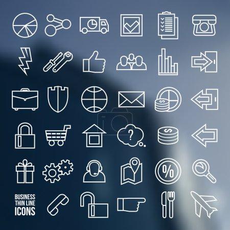 Illustration pour Navigation boutique en ligne et icônes d'affaires dans le style mince ligne. Impression blanche sur un fond brouillé - image libre de droit