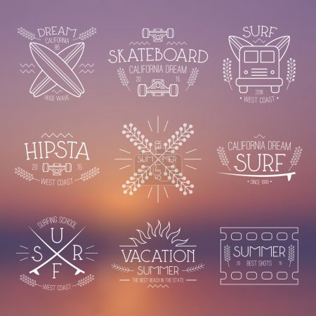 Surfing and vacation emblem
