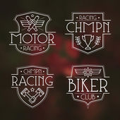 Racing badges in thin line style Graphic design for t-shirt White print on blurred background