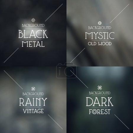 Set of dark blurred backgrounds