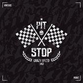 Pit stop emblem and seamless pattern