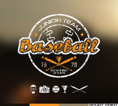 College baseball team emblem Graphic design for t-shirt  Color  print on blurred background