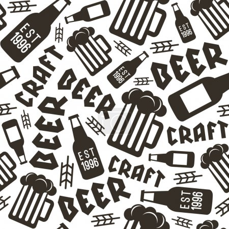 Craft beer brewery seamless pattern