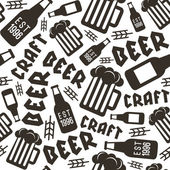 Craft beer brewery seamless pattern Black brown print on white background