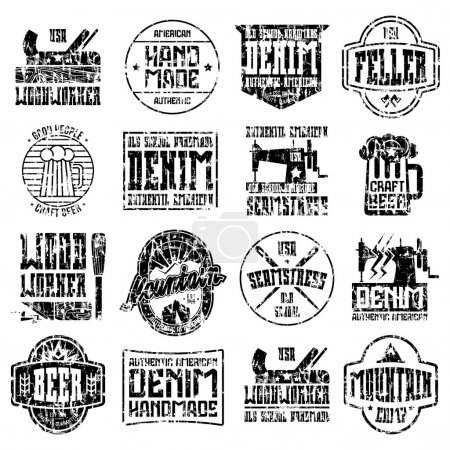 Handcrafted badges in retro style