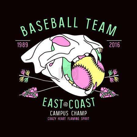 Baseball team emblem skull animal
