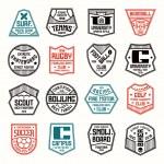 Set of sports badges. Soccer, bowling, baseball, t...