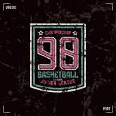 Basketball badge Graphic design for t-shirt Color print on black background