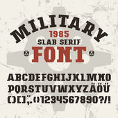 Slab serif font in military style
