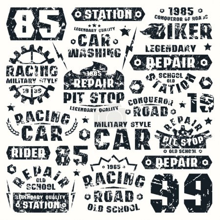 Car repair typographic elements