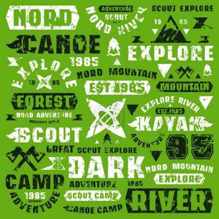 Camping typographic elements