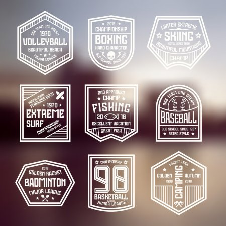 Set of sports badges. Basketball, boxing, baseball...