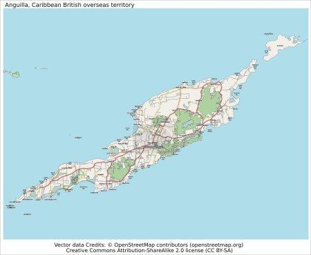 Anguilla UK territory island map