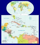 Světě střední Amerika Karibiku politické rozpory