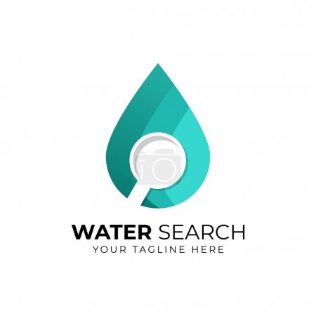 Illustration for Water search logo - drop of liquid or oil and loupe or magnifier symbol. - Royalty Free Image