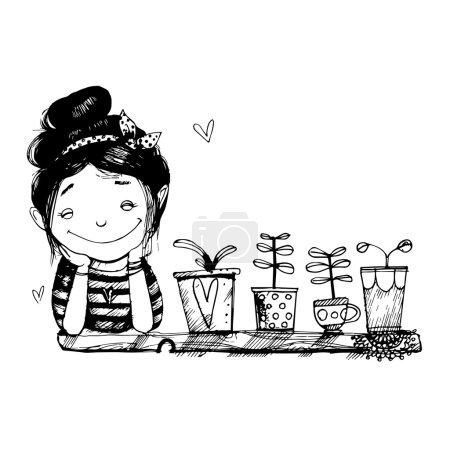 Illustration pour Une fille souriant par la fenêtre. Photo en noir et blanc . - image libre de droit