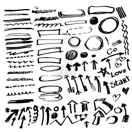 Set of vector hand drawn correction elements.