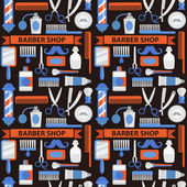 Seamless vector pattern barbershop in red blue tones
