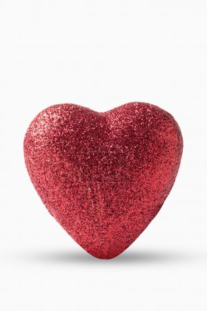 Photo for Single silvery heart isolated on a white background. - Royalty Free Image