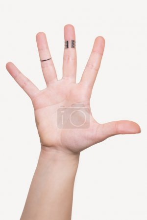 Open hand with rings