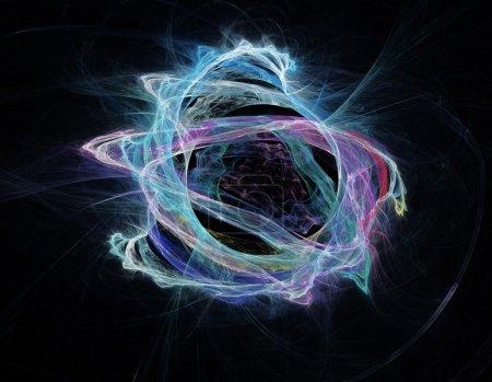 Photo pour Formes fractales abstraites sur fond noir . - image libre de droit