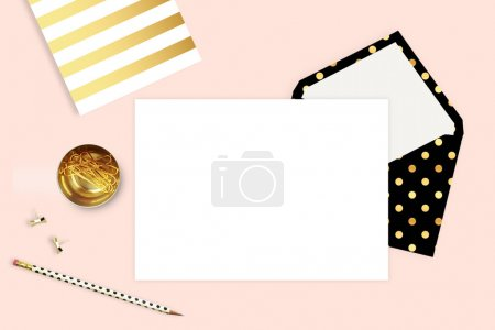Photo for Modern background. Mock-up for your photo or text Place your work. Woman desktop, template card. Header website or Hero website. Flat lay. Open envelope with blank - Royalty Free Image
